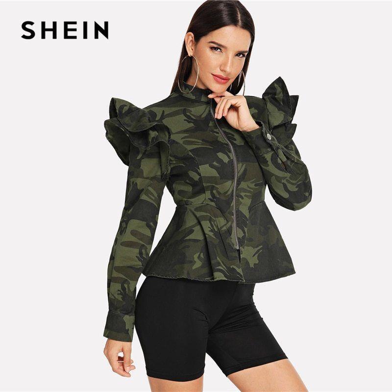 SHEIN Multicolor Zip Up Ruffle Armhole Camo Peplum Coat Military Stand Collar