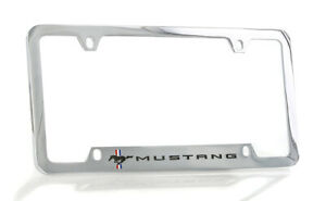 Ford Mustang Script  Chrome Brass Notched License Plate Frame