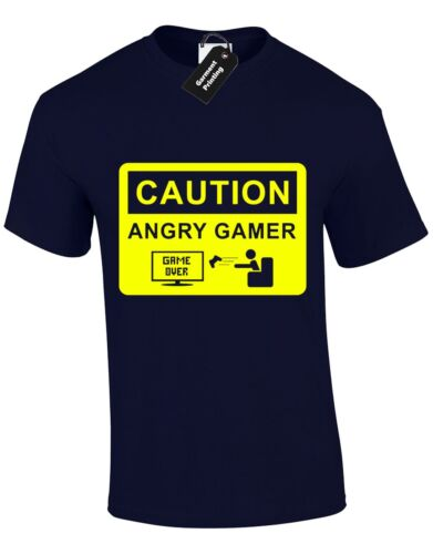 CAUTION ANGRY GAMER MENS T SHIRT JOY PAD VIDEO GAME RETRO FUNNY  GIFT