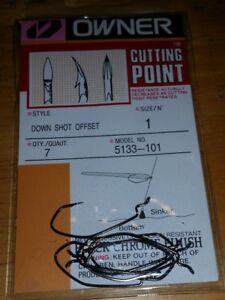 5133-101 Owner size 1 Down Shot Offset Fishing Hooks qty 7 Bass Trout