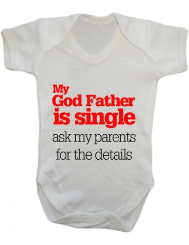 """Baby Bodysuit Baby Bodysuit Funny /"""" My Godfather is Single/"""" Baby Grow Fun"""
