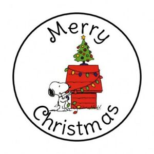 image is loading 48 merry christmas snoopy envelope seals labels stickers - Snoopy Merry Christmas Images