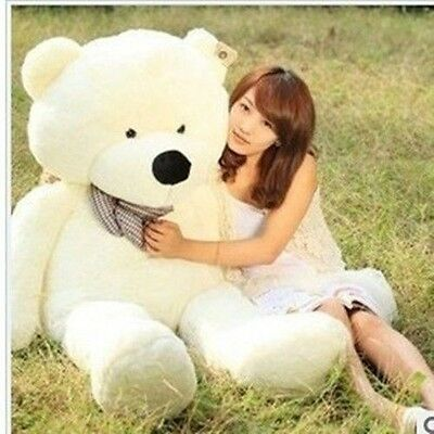 GIANT 100CM BIG CUTE Beige PLUSH TEDDY BEAR HUGE WHITE SOFT 100% COTTON TOY