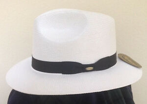 096ccca70937a6 SCALA * MEN WHITE FEDORA HAT * M L * NEW PANAMA STYLE TOYO STRAW ...