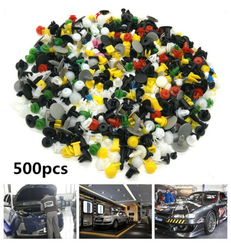500Pcs Plastic Car Fenders Panel Bumper Clutch Assorted Rivet Fasteners Push Pin