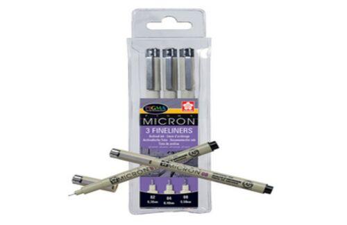 3 SAKURA Fineliner PIGMA MICRON schwarz verschiedene Strichstärken permanent