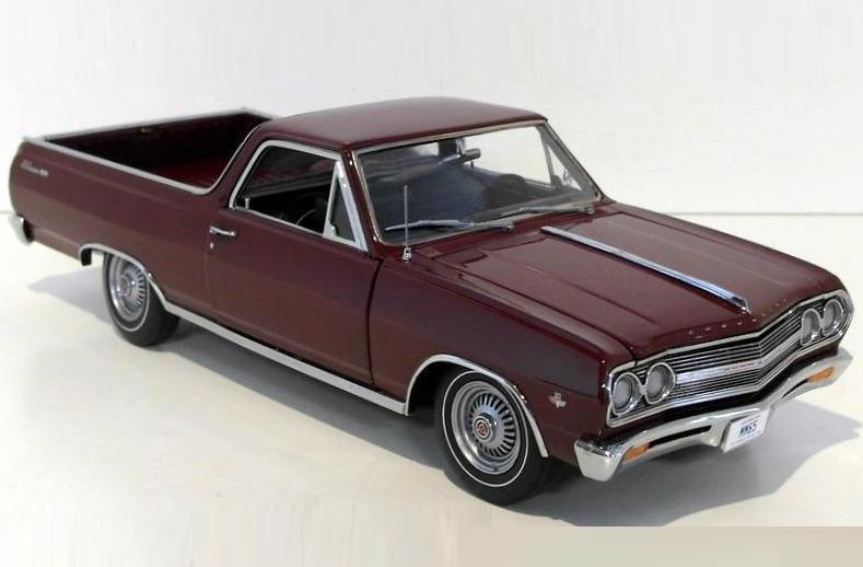 ACME 1 18 1965 Chevrolet El Camino L79 Moulé Sous Pression Modèle De Voiture Rouge Bordeaux A1805405