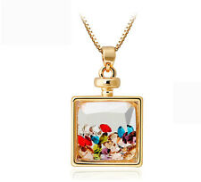 Beautiful Colourful Full of Small Crystal Perfume Bottle Pendant Necklace N223