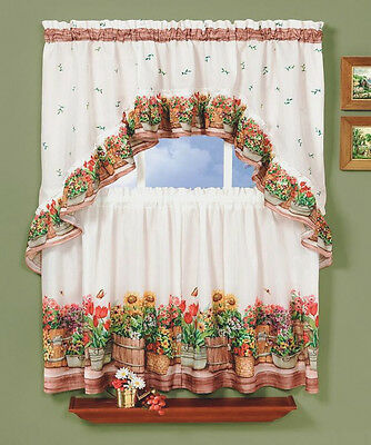 Country Garden Complete Kitchen Curtain Tier and Swag Set