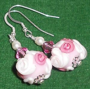 COMING-UP-ROSES-Pink-White-Artisan-Lampwork-Crystal-Silver-Dangle-Earrings