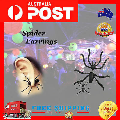 925 Sterling Plated Retro 3D Punk Big Spider Charm Tassel Drop Dangle Earrings