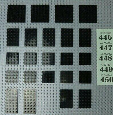 VGC #446-50 LEGO black plates 4x4,4x6,4x8 6x6,6x8