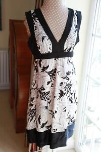 Oasis-size-14-sleeveless-Black-amp-White-with-sequins-silk-dress-knee-length