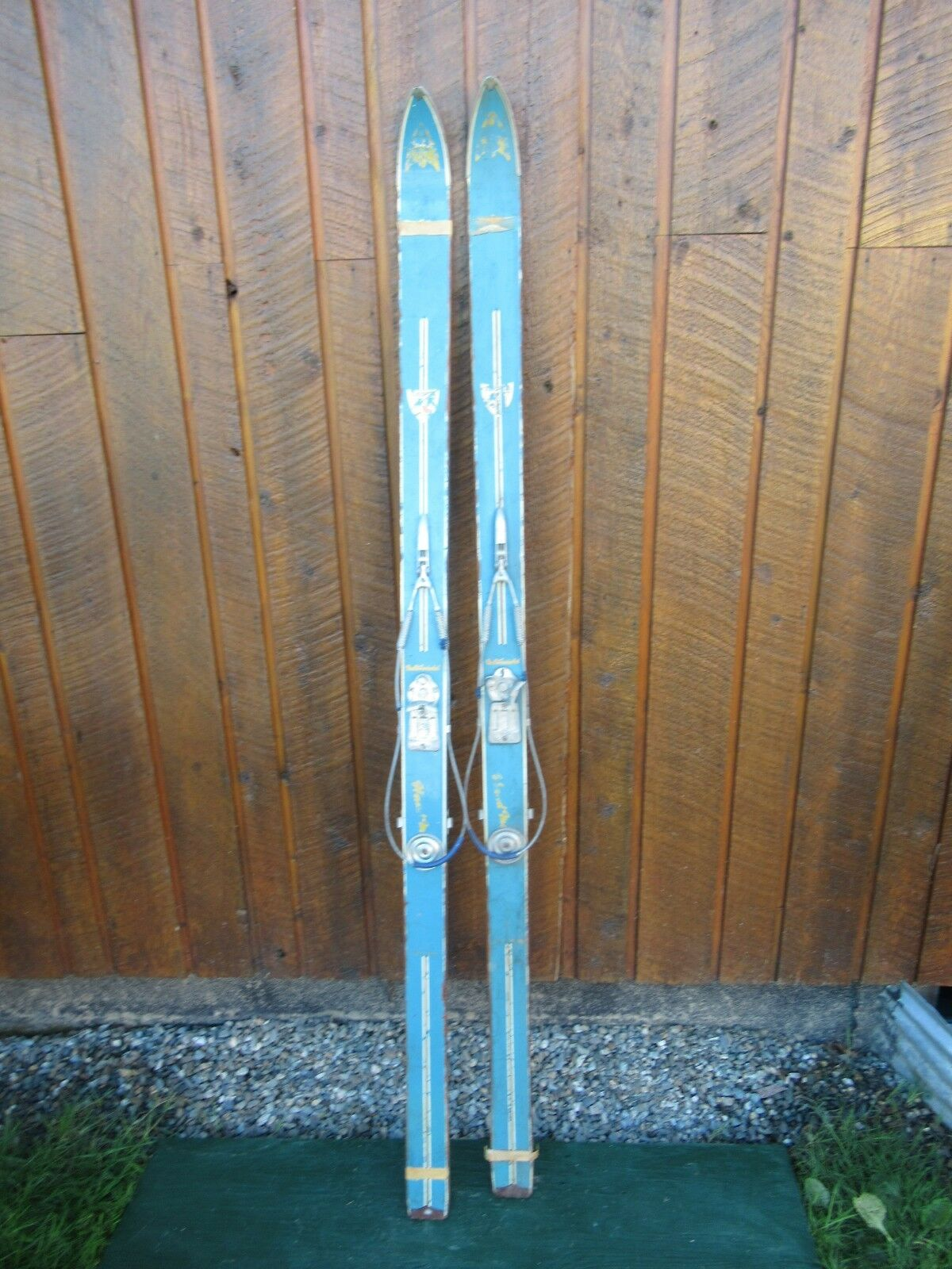 VINTAGE Wooden 68  Skis with Metal Cable Bindings and Old Finish