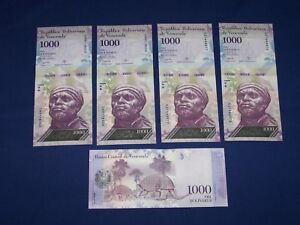 Lot of 5 Bank Notes from Venezuela 5 Bolivars
