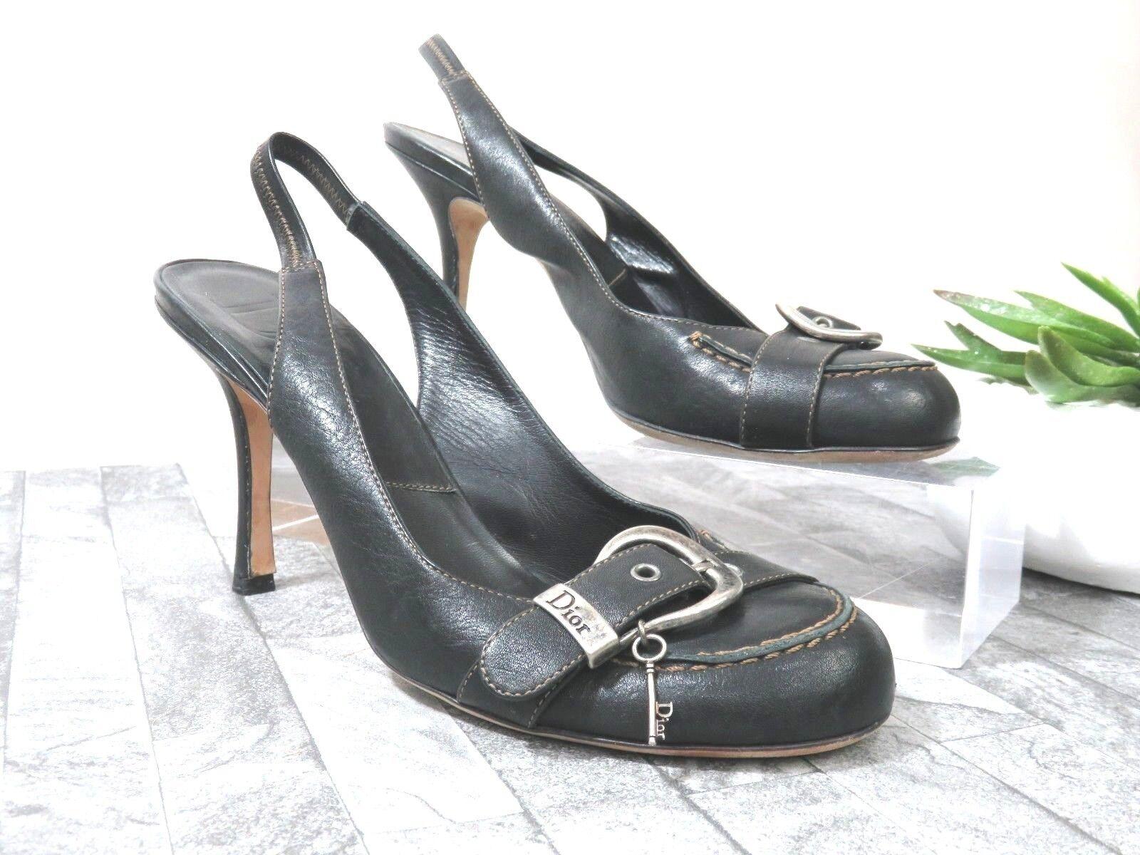 CHRISTIAN DIOR  Black Black Black Leather Dior Buckle Charm Pump Womens Heel shoes Size 39.5 4b1046