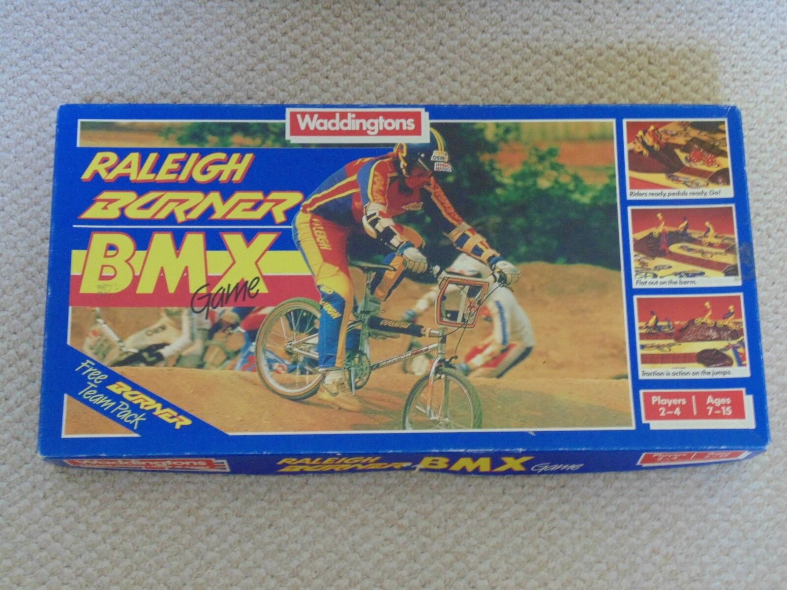RALEIGH BURNER BMX RETRO GAME BOXED 1985 WADDINGTONS 100% COMPLETE RARE + POSTER