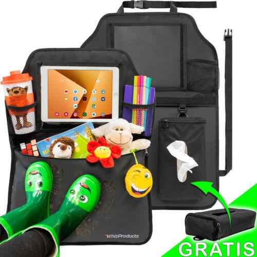 Taschentücher-Box /& Tablet-Fach Autositzschoner Rückenlehne Kinder-Doppelpack