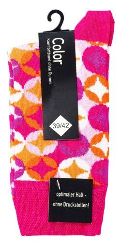 fröhlich bunter 70`s Style Damensocken Softbund ohne Gummi handgekettelte Naht