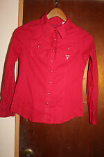 Guess Los Angeles Women's Red Long Sleeve Pearl Snap Shirt Size XL 16