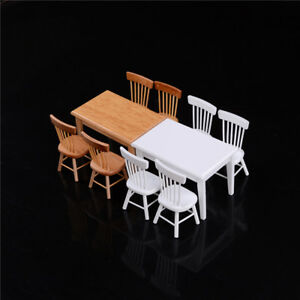 1-12-Wooden-Kitchen-Dining-Table-With-4-Chairs-Set-Barbie-Dollhouse-Furniture-TH