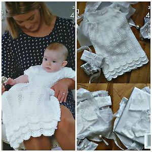 KNITTING PATTERN Baby Christening Dress/Robe Cardigan Hat 4ply King Cole 3537...