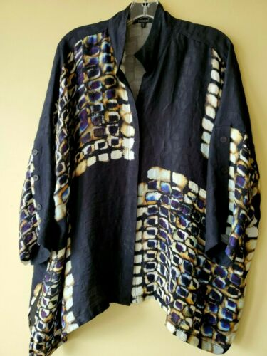 Dressori Chic Woman Silk Blouse Tunic Black Purple