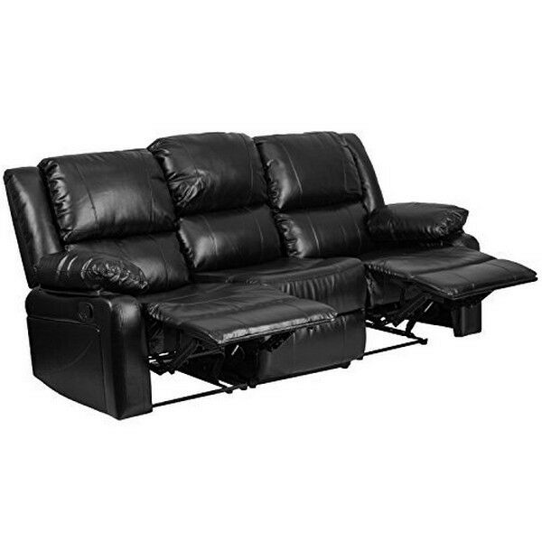 Flash Furniture Harmony Series Black Leather Sofa W/ Two Built In Recliners  NEW