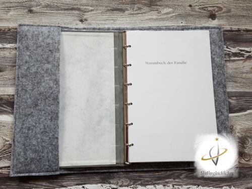 Libro de raíz funda fieltro novia par namensbestickung única boda regalo