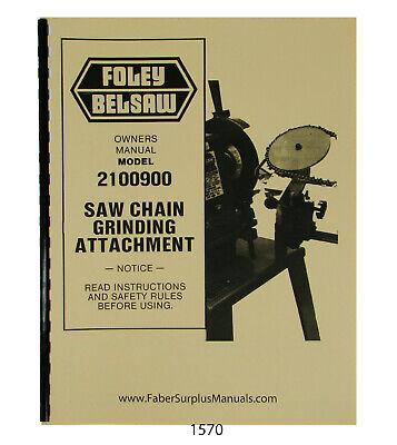 Foley Belsaw 2100900 Saw Chain Grinder Operator Parts Manual 1570 EBay
