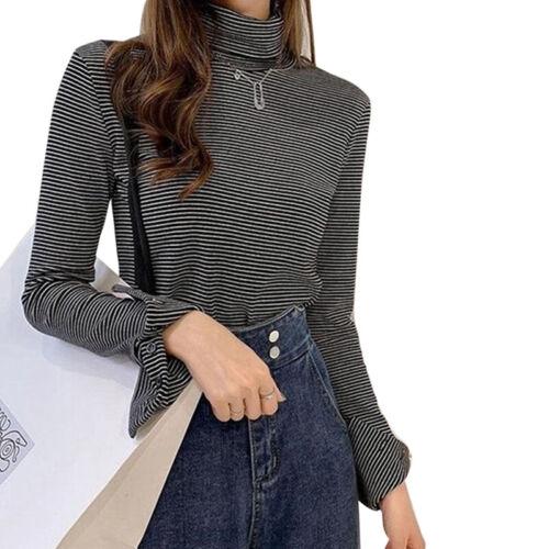 Women Striped T Shirt Fashion Sleeve Open Button High Collar Long Sleeve Tops~DS