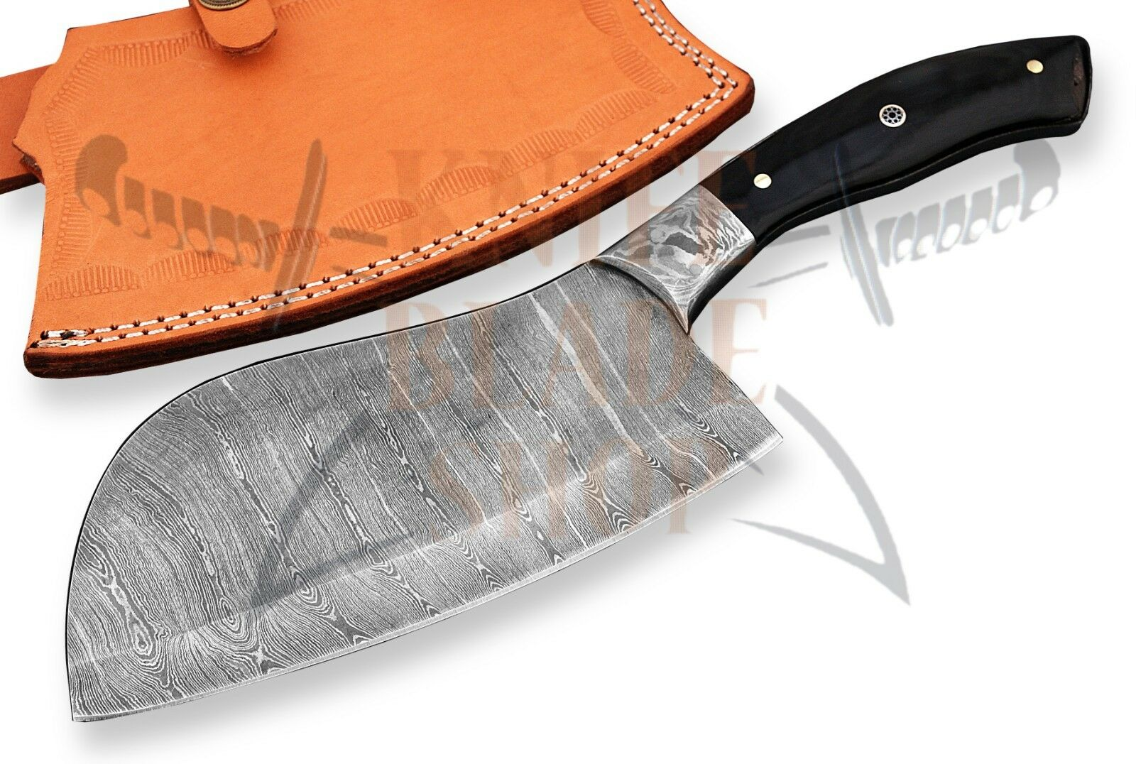 DAMAS LAME ACIER PROFESSIONNEL COUPERET couteau de cuisine Buffalo hommeche corne