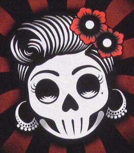 Catrina Skull Rose Day of Dead Mexico Art Halloween NEW Junior All Sizes Black