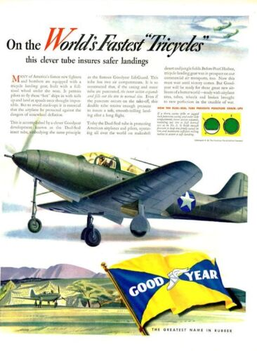 1942 Goodyear PRINT AD Pilot Army Fighter Plane WWII World's fastest tricycle