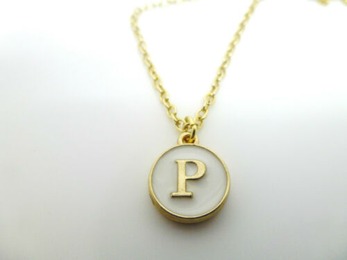 ROUND ENAMEL /& GOLD LETTER P INITIAL CHARM  NECKLACE IN PINK BLUE BLACK OR WHITE