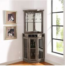 Item 2 Mini Bar Corner Liquor Cabinet Home Wine Storage Stemware Rack Pub Furniture New