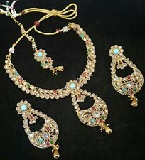 MULTI CZ NAVRATAN POLKI GOLD TONE NECKLACE SET BOLLYWOOD INDIAN BRIDAL JEWELRY