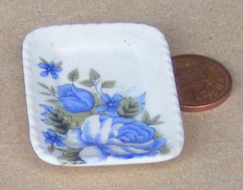 Escala 1:12 azul y blanco cerámica sirviendo placa 5cm X 3.5cm tumdee Casa De Muñecas B35
