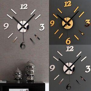 Orologio da parete analogico con numeri adesivi colori oro for Orologi da parete adesivi