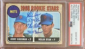 👍1968 Topps Nolan Ryan Stats PSA/DNA GEM MT 10 Signed Rookie Baseball Card👍