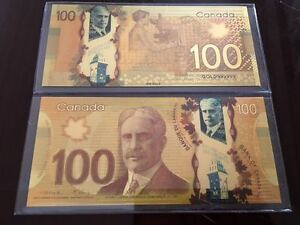 Canadian-100-One-Hundred-Dollar-Banknote-24k-Pure-Gold-Color-with-Deluxe-Holder