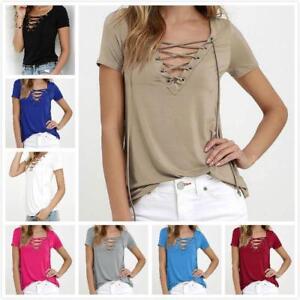WHOLESALE BULK LOT OF 10 MIXED COLOUR SIZE Lace Up Basic T-Shirt Blouse T174