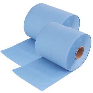 2x Rollen 3 lagig 34 cm breit Putztuch Papier-Rolle blau Putzpapier 1000 Blatt