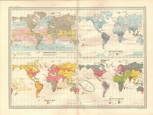 1890 ANTIQUE MAP - THE WORLD, PREVAILING WINDS, RACES OF MAN | eBay