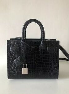 812d01b06a3 YSL Saint Laurent Nano Sac De Jour Black Crocodile Embossed Leather ...