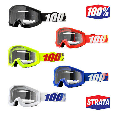 100/% MASCHERINA OCCHIALE STRATA GOLIATH NERO MOTO CROSS ENDURO LENTE TRASPARENTE