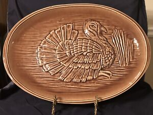 Vintage McCoy Pottery #9730 Brown Turkey Platter 16""