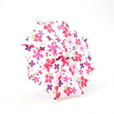 """White w// Pink Flower Print Umbrella made for 18/"""" American Girl Doll Clothes"""