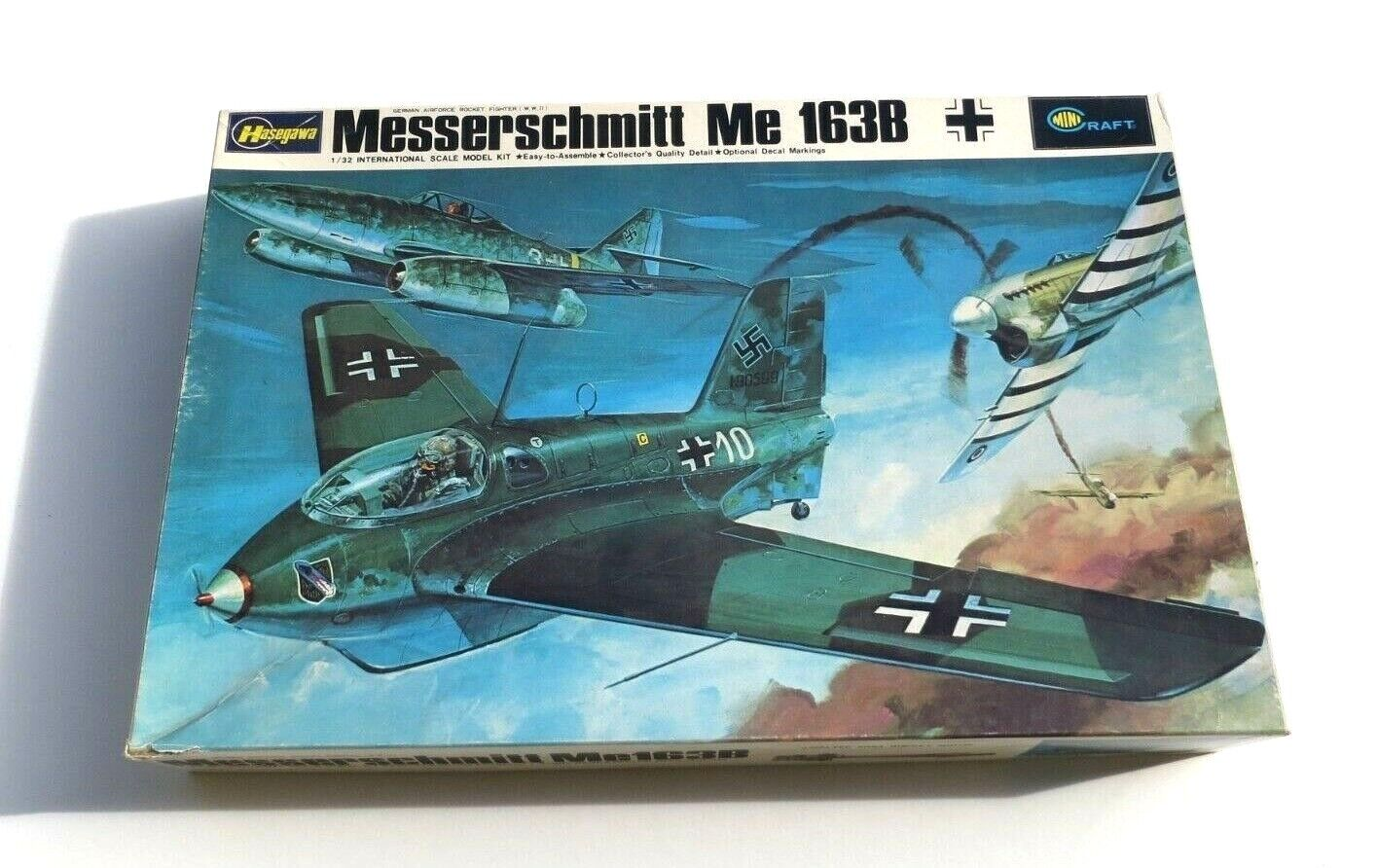 Vintage Hasegawa 1 32 Messerschmitt Me 163B Jet Fighter Plastic Model Plane Kit
