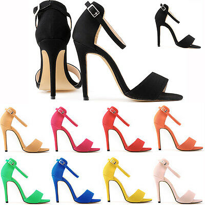 New Womens Girls High Heels Stilettos Open Toe Ankle Strap Wedges Sexy Sandals